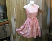 Vintage Pink Gingham dress 1960s picnic Summer full skirt frock XS Small