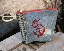 Sailor Anchor pouch stencil ticking Tote Bleach dyed pouch red zipper vintage blue denim wallet