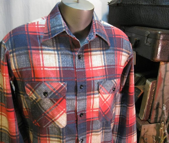 Vintage Plaid shirt  Red flannel Sears Work Clothing