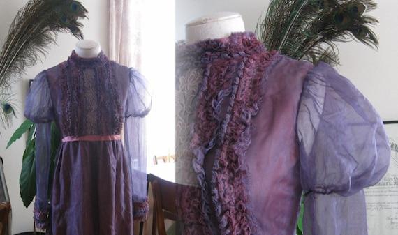 Lavender wedding dress Bride dress spooky sheer  vintage 1960s
