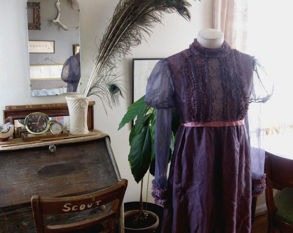 Lavender wedding dress Bride dress spooky sheer  vintage 1960s S M