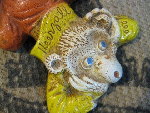 3 vintage Monkeys Wall decor nursery  Hear See Say Orange Yellow and cute