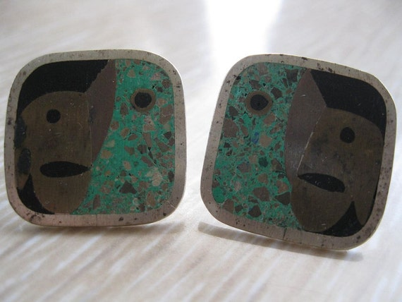 Mexican Earrings Married metals Vintage Marked 925