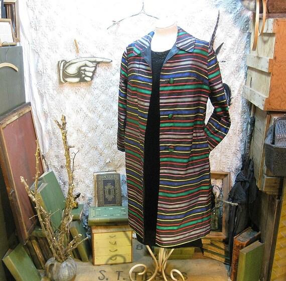 Rainbow Coat Vintage 60s Candy Stripes reversible coat