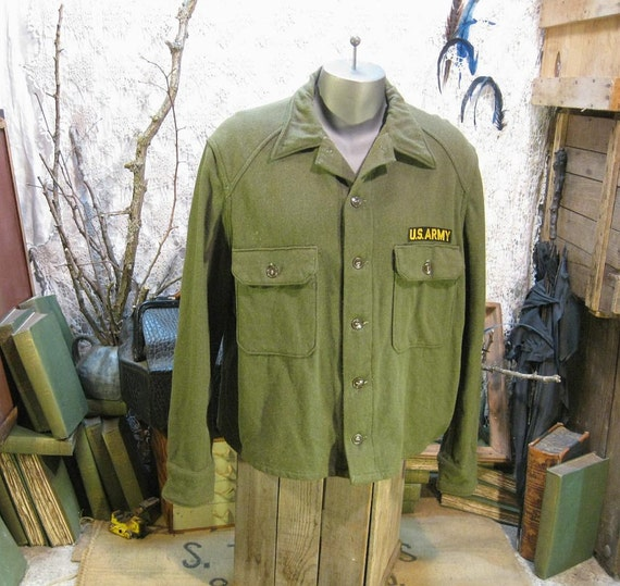 50s Military shirt  xl vintage Olive Wool Army field shirt