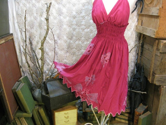 Halter Dress Magenta cutwork Butterfly vintage  embroidered dress