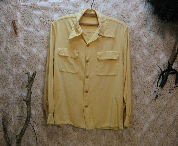 40s vintage Shirt Butter yellow Rayon blend