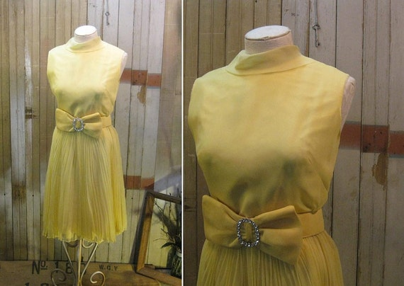 Reserved Yellow cocktail Dress vintage 1960s Pleated chiffon rhinestones Bow  M