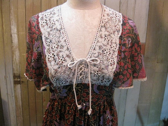 Lace corset Vintage maxi Dress Young Innocent fluttery sleeves 1970s dress  S