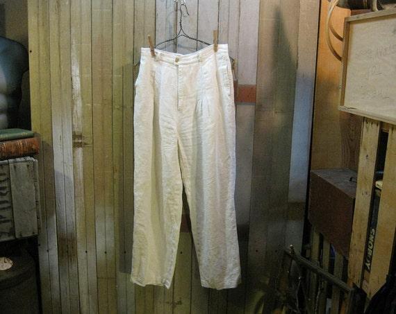 Vintage White Linen pants 1970s Banana Republic summer classic M