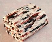 Hand Dyed Arm Warmers Hand Knit in Merino Wool Yarn - Appaloosa - White Cream Chestnut Brown Black Spots - Ready to Ship