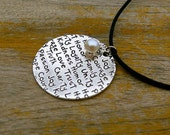 Joy Honesty Courage Love Family stamped Necklace with a Message