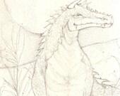 Dragon Lizard pencil sketch- original