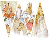 Peter Rabbit banner, twelve triangles, 3.9 X 7.5 inches each, printable download for paper crafts  --  no. 379