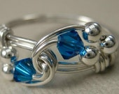 Wire Wrapped Ring Capri Blue and Sterling Silver Duet
