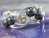 Wire Wrapped Ring Hematite and Sterling Silver Fibonacci