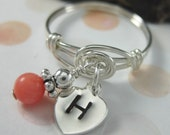 Personalized Monogram Heart Ring Sterling Silver and Wire Wrapped Coral Dangle Ring Hand Stamped Valentine Jewelry