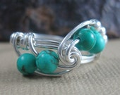 Genuine Turquoise Ring Wire Wrapped Sterling Silver Fibonacci Geek Ring
