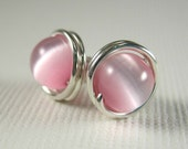 Stud Earrings 6mm Wire Wrapped Sterling Silver and Pink Cat's Eye