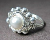 Pearl Ring Wire Wrapped Sterling Silver Princess -- White Swarovski Glass Pearl -- 28 Colors Available