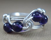 Amethyst Ring Wire Wrapped Sterling Silver Fibonacci