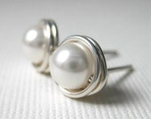 Pearl Stud Earrings 6mm Bridal Jewelry Wire Wrapped Swarovski Glass Pearls and Sterling Silver - White - Simply Studs - 28 Colors Available