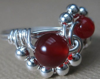 Carnelian Ring Wire Wrapped Sterling Silver Binary
