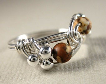 Wire Wrapped Ring Picture Jasper and Sterling Silver Duet