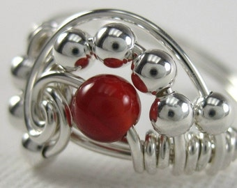 Pi -- Wire Wrapped Ring Carnelian and Sterling Silver Pi