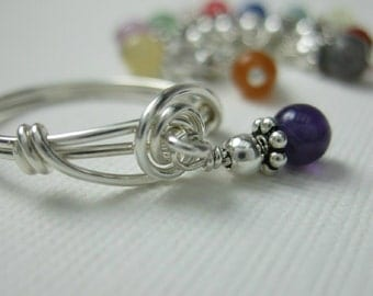 Wire Wrapped Dangle Ring Sterling Silver  -- You Choose Your Stone