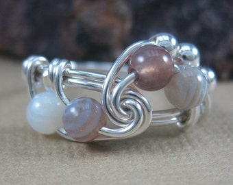 Ring Wire Wrapped Botswana Agate and Sterling Silver Fibonacci