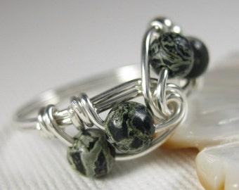 Wire Wrapped Ring Sterling Silver and Kambaba Jasper Fibonacci