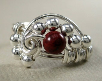 Wire Wrapped Ring Sterling Silver and Poppy Jasper Pi