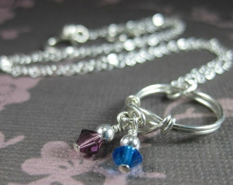 Personalized Family Birthstone Dangle Ring Necklace--Sterling Silver and Swarovski Crystals