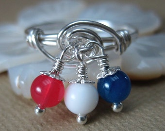 Dangle Ring Wire Wrapped Sterling Silver with Red, White and Blue Jade Dangles