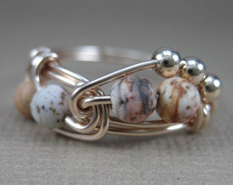 Wire Wrapped Ring Picture Jasper and 14k Gold Filled Fibonacci