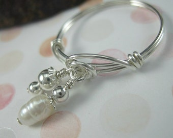 Sterling Silver and Fresh Water Pearl Double Dangle Wire Wrapped Ring