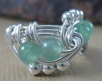 Wire Wrapped Ring Aventurine and Sterling Silver Trinity