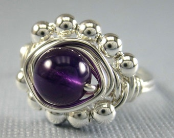 Amethyst Cocktail Ring February Birthstone Jewelry Wire Wrapped Ring Sterling Silver and Amethyst Princess Cocktail