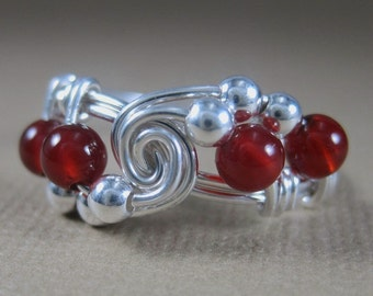 Wire Wrapped Ring Carnelian and Sterling Silver Vortex