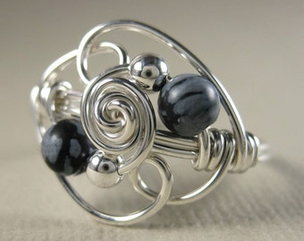 Wire Wrapped Ring Snowflake Obsidian and Sterling Silver Duality