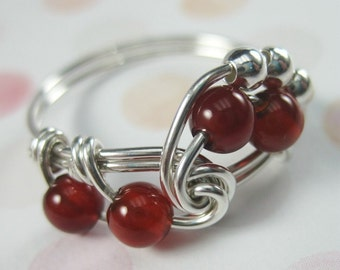Carnelian Ring Wire Wrapped Sterling Silver Fibonacci -- Any Size