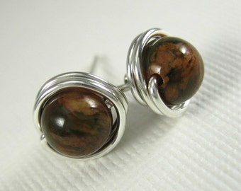 Wire Wrapped Stud Earrings Green Opal and Sterling Silver 6mm