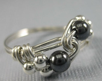 Wire Wrapped Ring Hematite and Sterling Silver Duet