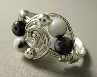 Wire Wrapped Ring Sterling Silver and Mexican Zebra Jasper Deluxe Gravitation