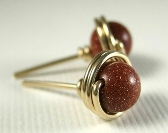 Goldstone Stud Earrings 6mm 14k Gold Filled Wire Wrapped -- Simply Studs