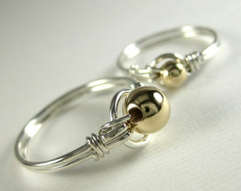 Mother Daughter Ring Set -- Mixed Metals Wire Wrapped Sterling Silver and 14k Gold Filled O Loop -- Set of 2 Rings -- Other Beads Available