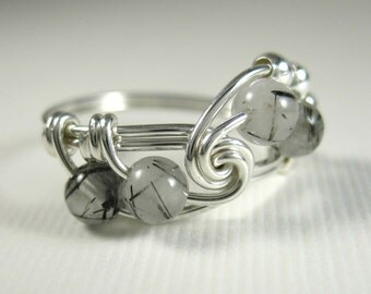 Fibonacci Math Ring Black Rutilated Quartz and Sterling Silver Wire Wrapped Ring Math Jewelry