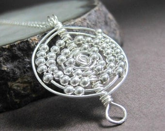 Wire Wrapped Sterling Silver Atom Pendant Necklace