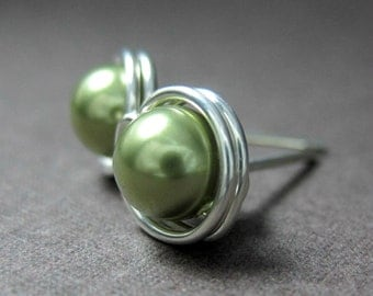 Pearl Stud Earrings 6mm Wire Wrapped Swarovski Glass Pearls and Sterling Silver -- Light Green -- Simply Studs -- 28 Colors Available